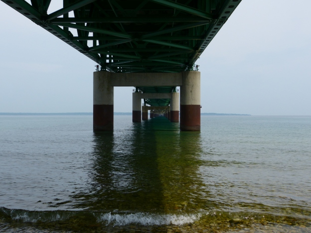 A look at the underside of the Mackinac Bridge.