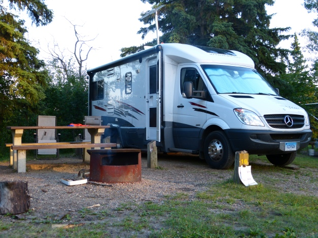 Nice campsite on Day 2 at Elk Island. Note the fire permit on the post. No campfires without a permit!