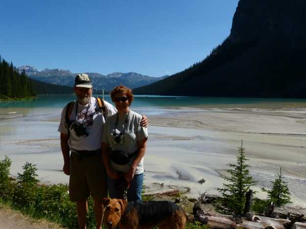 "Charlie, me and Woolly Bear on the far side of Lake Louise, at the start of our hike ""View of the Six Glaciers""."