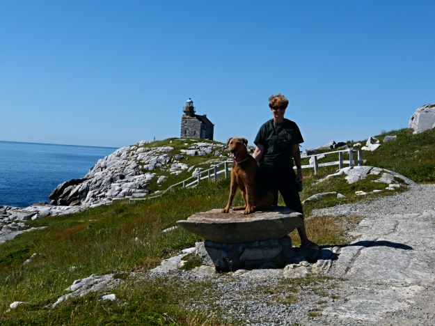 Woolly Bear and I take a break on the path to the lighthouse.