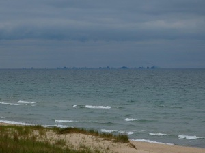 Chicago in the distance, Lake Michigan